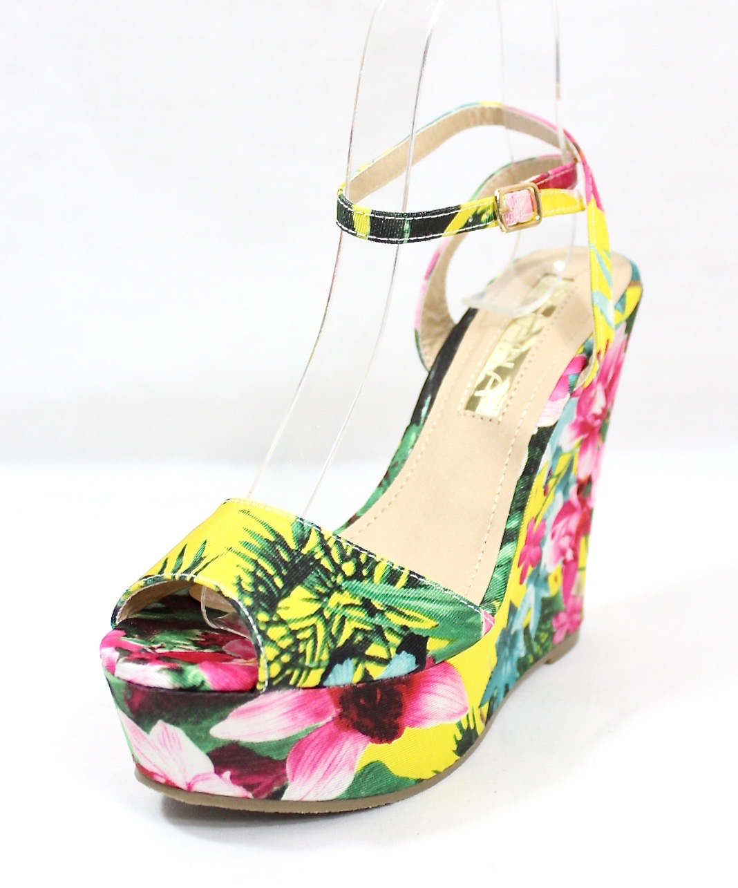Liliana Anneka-24 Open Toe Platform Floral Wedge Sandals-4315