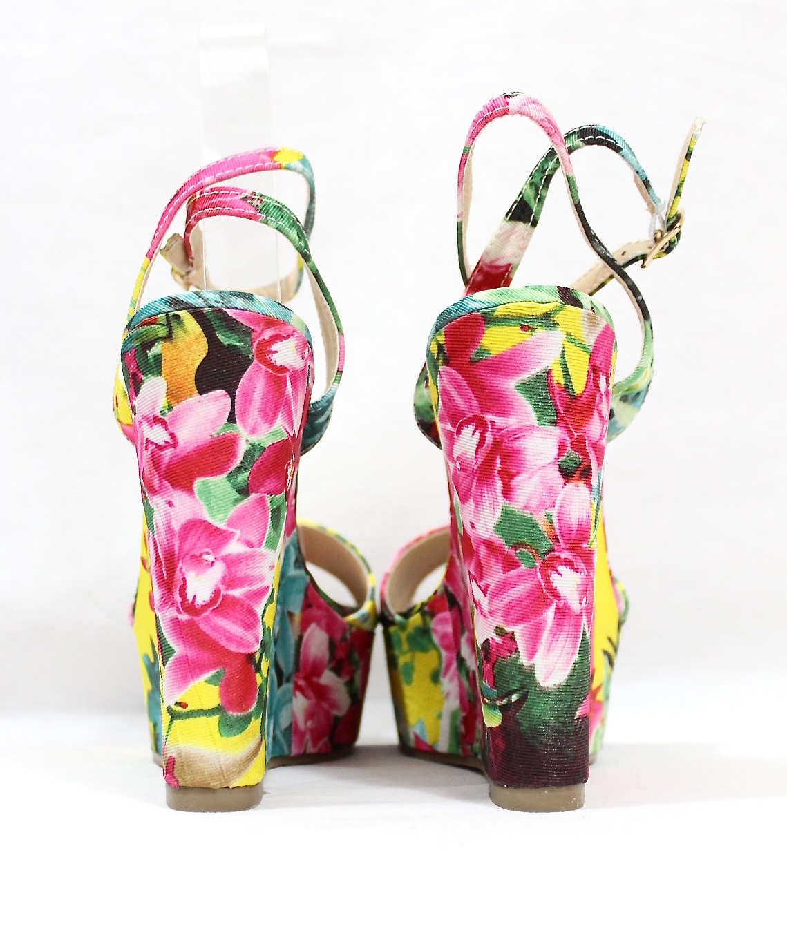 Liliana Anneka-24 Open Toe Platform Floral Wedge Sandals-4316