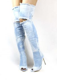 Liliana Barbara-13 Light Denim Over the Knee Thigh High Open Toe Boots-0