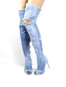 Liliana Barbara-13 Denim Over the Knee Thigh High Open Toe Boots-0