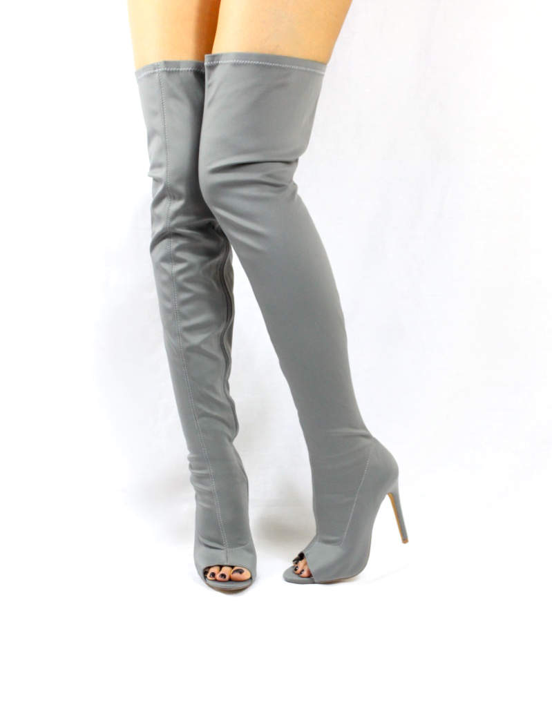 Liliana Connely-8 Grey Lycra Over the Knee Thigh High Open Toe Boots-0
