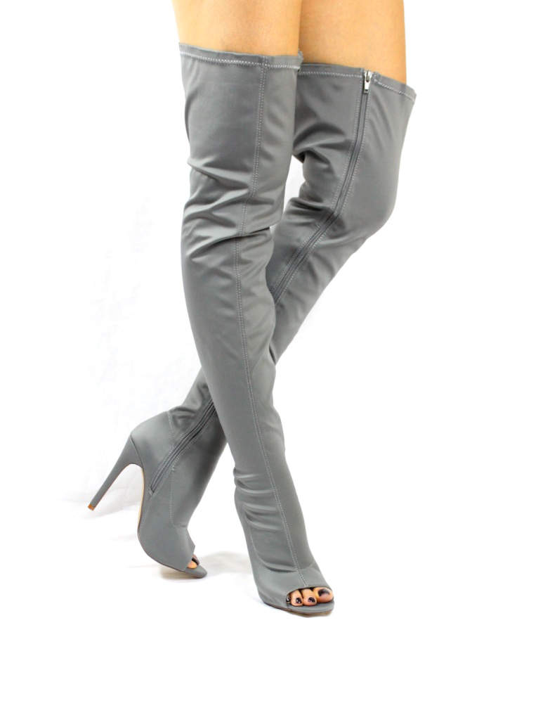 Liliana Connely-8 Grey Lycra Over the Knee Thigh High Open Toe Boots-4241