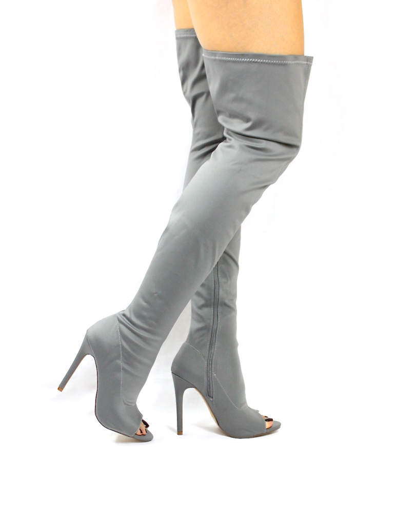 Liliana Connely-8 Grey Lycra Over the Knee Thigh High Open Toe Boots-4240