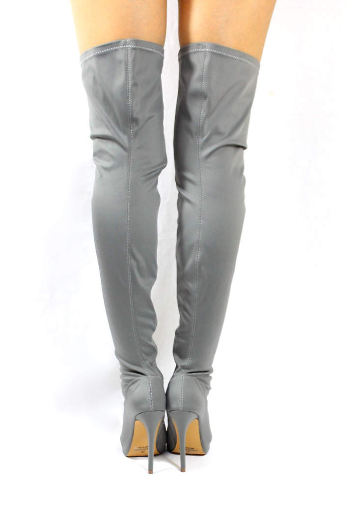 Liliana Connely-8 Grey Lycra Over the Knee Thigh High Open Toe Boots-4242