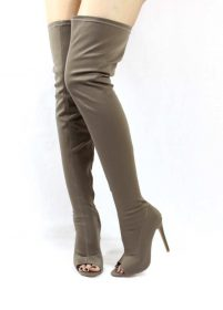 Liliana Connely-8 taupe Lycra Over the Knee Thigh High Open Toe Boots-0