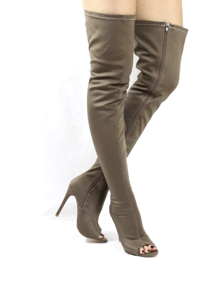 Liliana Connely-8 taupe Lycra Over the Knee Thigh High Open Toe Boots-4249