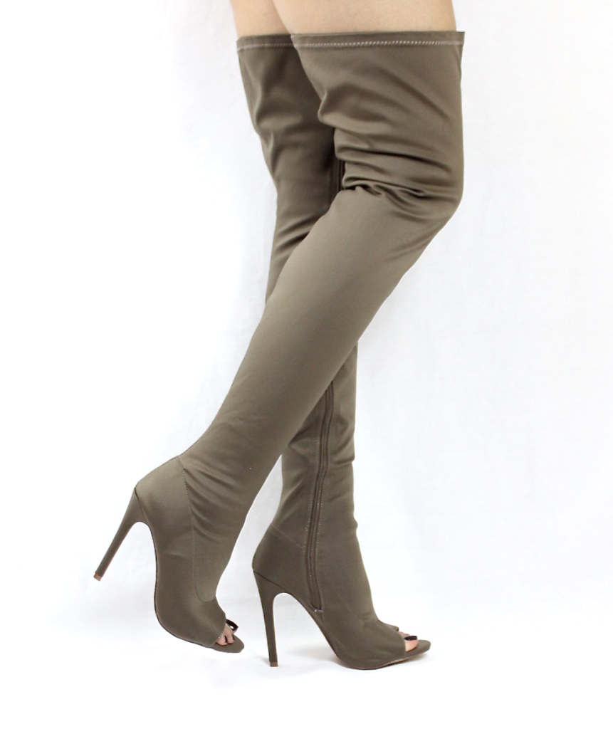 Liliana Connely-8 taupe Lycra Over the Knee Thigh High Open Toe Boots-4250