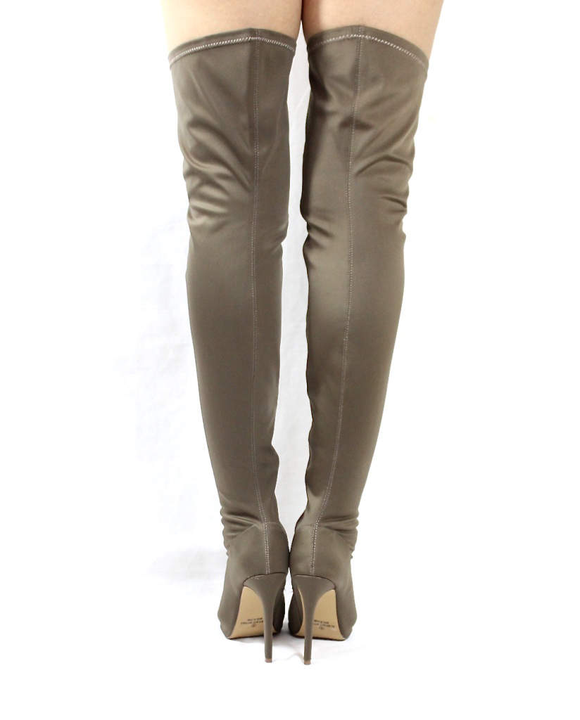 Liliana Connely-8 taupe Lycra Over the Knee Thigh High Open Toe Boots-4248