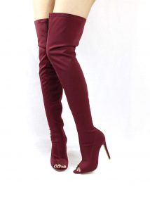Liliana Connely-8 Wine Lycra Over the Knee Thigh High Open Toe Boots-0