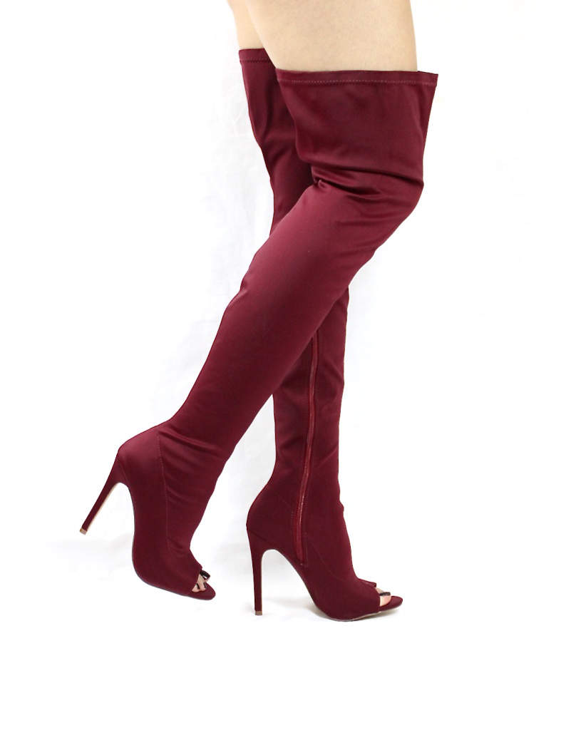 Liliana Connely-8 Wine Lycra Over the Knee Thigh High Open Toe Boots-4233