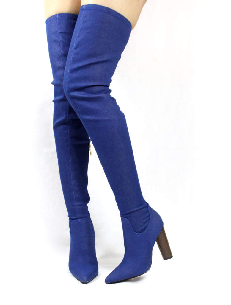 Cape Robin Connie-10 Pointy Toe Thigh High Over the Knee Chunky Heel Boots-0