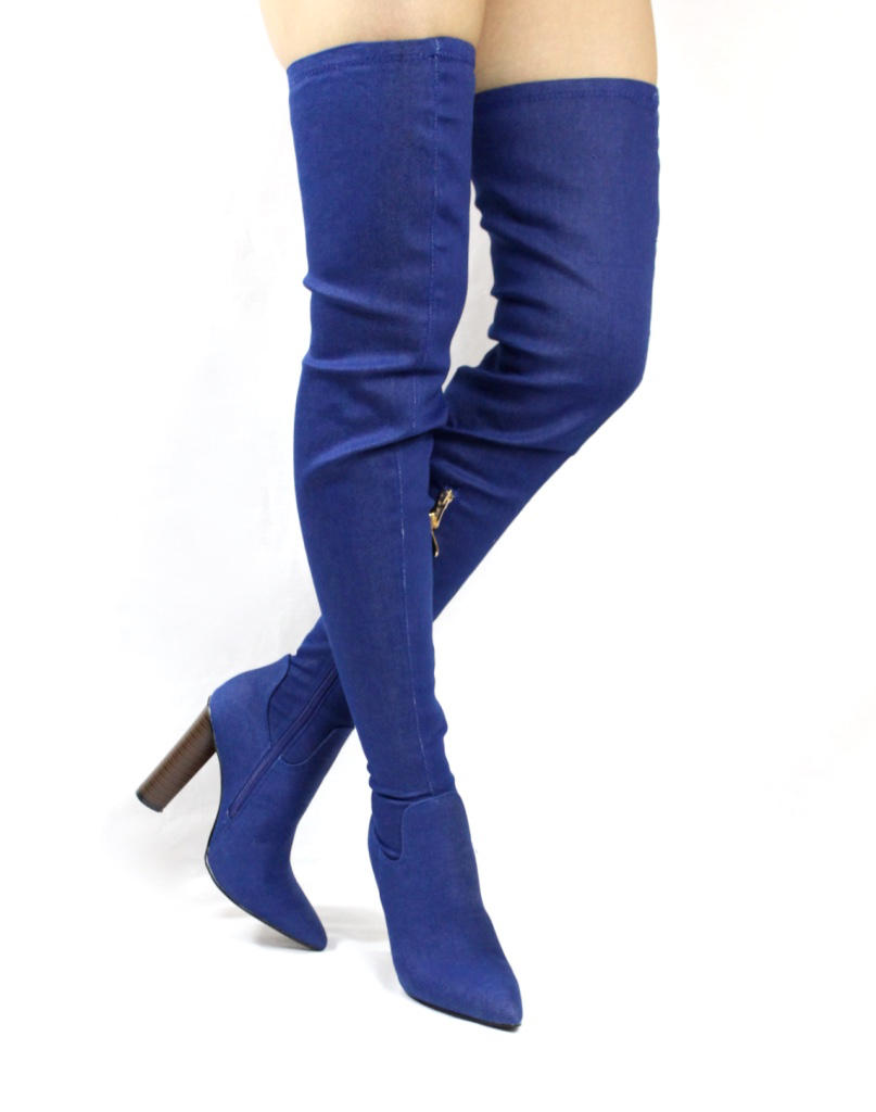 Cape Robin Connie-10 Pointy Toe Thigh High Over the Knee Chunky Heel Boots-4225
