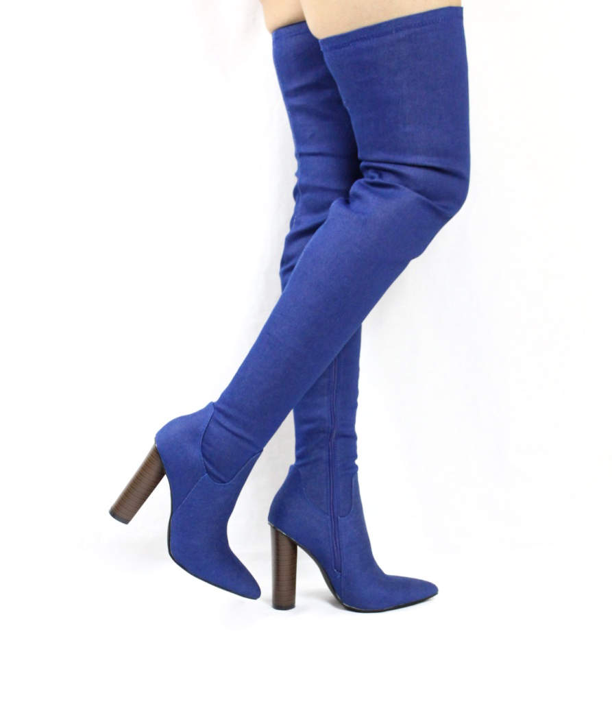 Cape Robin Connie-10 Pointy Toe Thigh High Over the Knee Chunky Heel Boots-4224