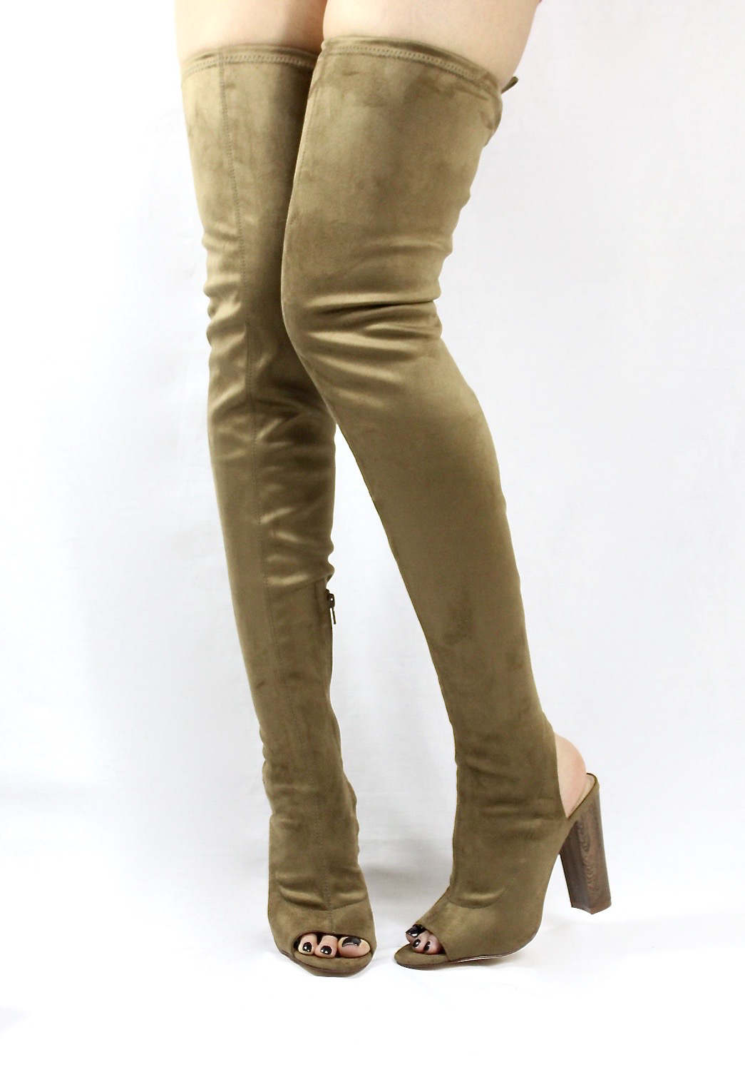 Liliana Sage-44 Olive Over the Knee Thigh High Open Toe Boots-4281
