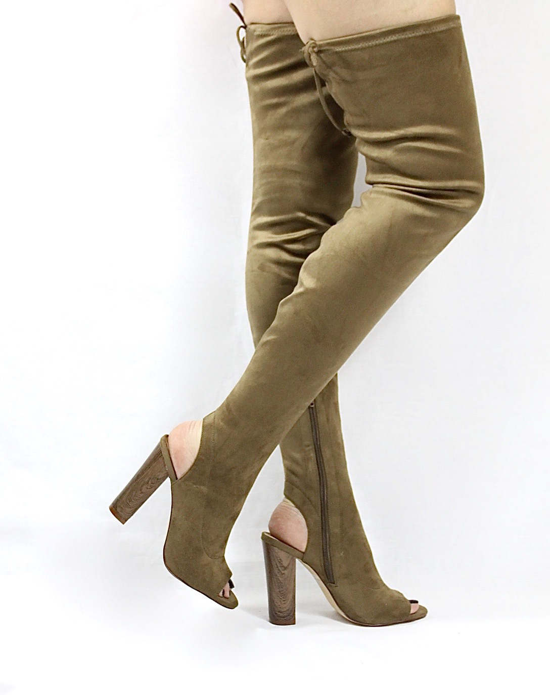Liliana Sage-44 Olive Over the Knee Thigh High Open Toe Boots-0