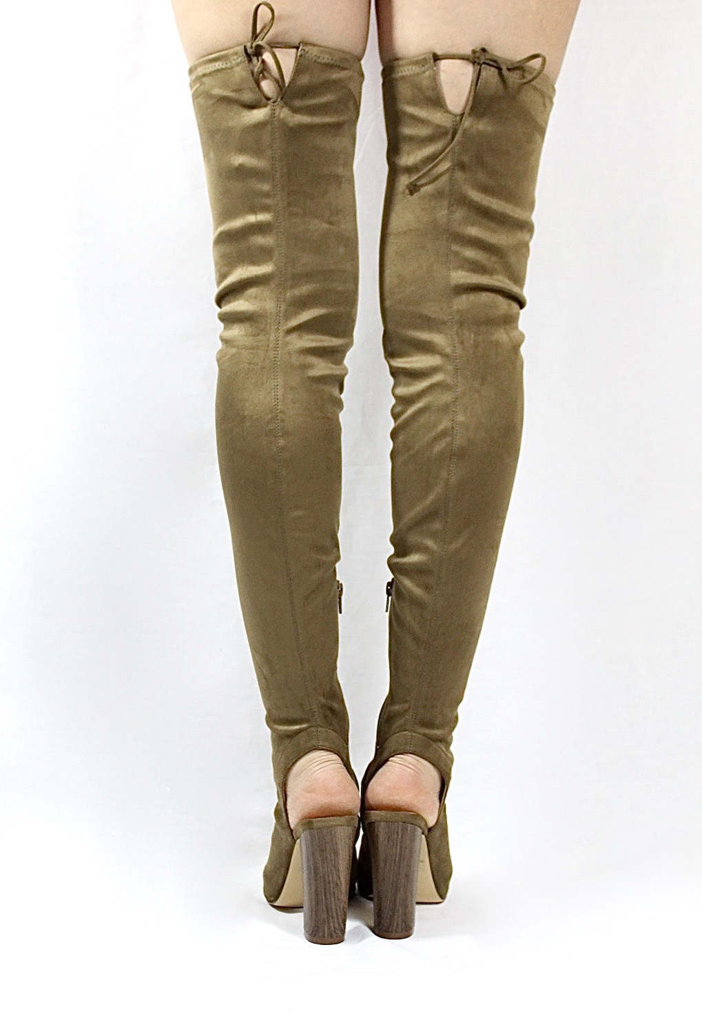 Liliana Sage-44 Olive Over the Knee Thigh High Open Toe Boots-4280
