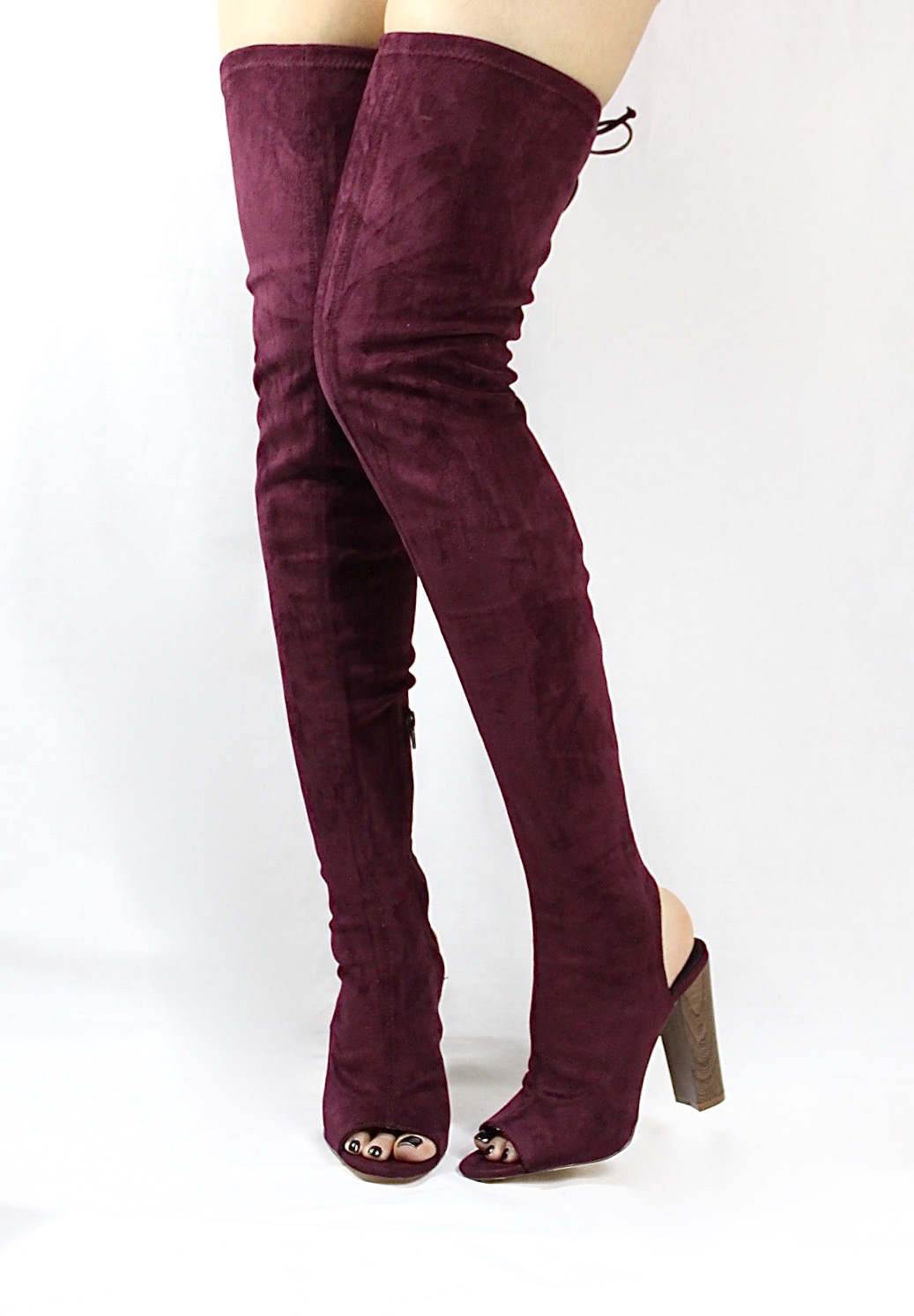 Liliana Sage-44 Plum Over the Knee Thigh High Open Toe Boots-4272