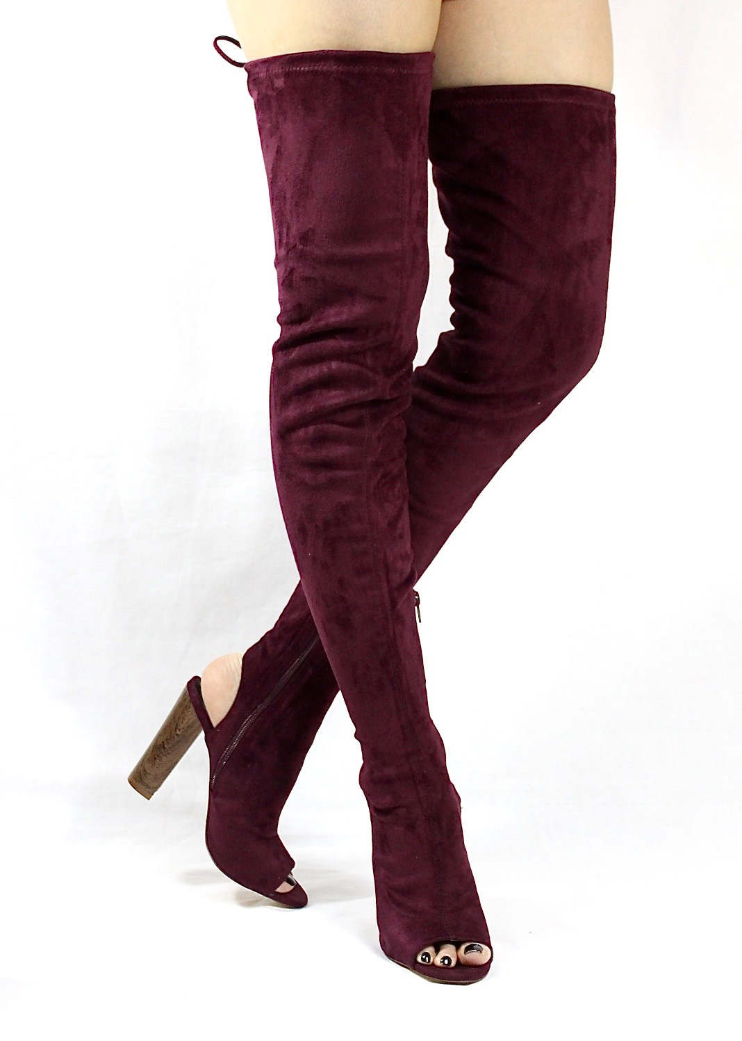 Liliana Sage-44 Plum Over the Knee Thigh High Open Toe Boots-4273