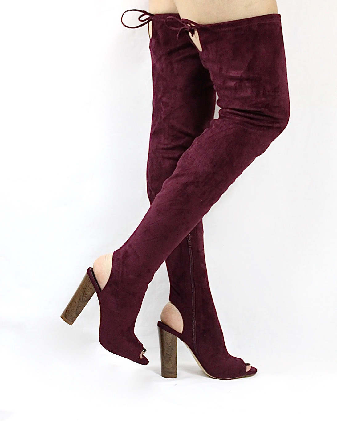 Liliana Sage-44 Plum Over the Knee Thigh High Open Toe Boots-0