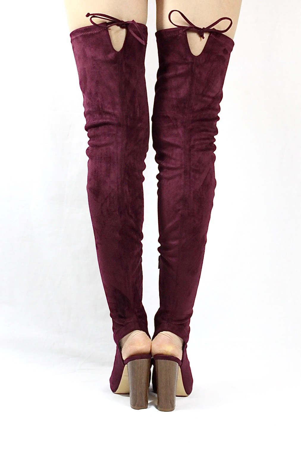 Liliana Sage-44 Plum Over the Knee Thigh High Open Toe Boots-4274