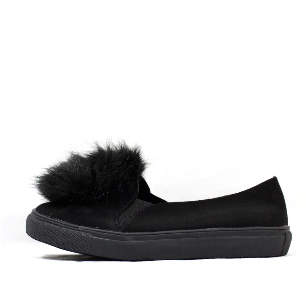 Liliana Bailey-1 Black Flat Slip On Faux Fur Ball Pom Pom Round Toe Sneakers-4355