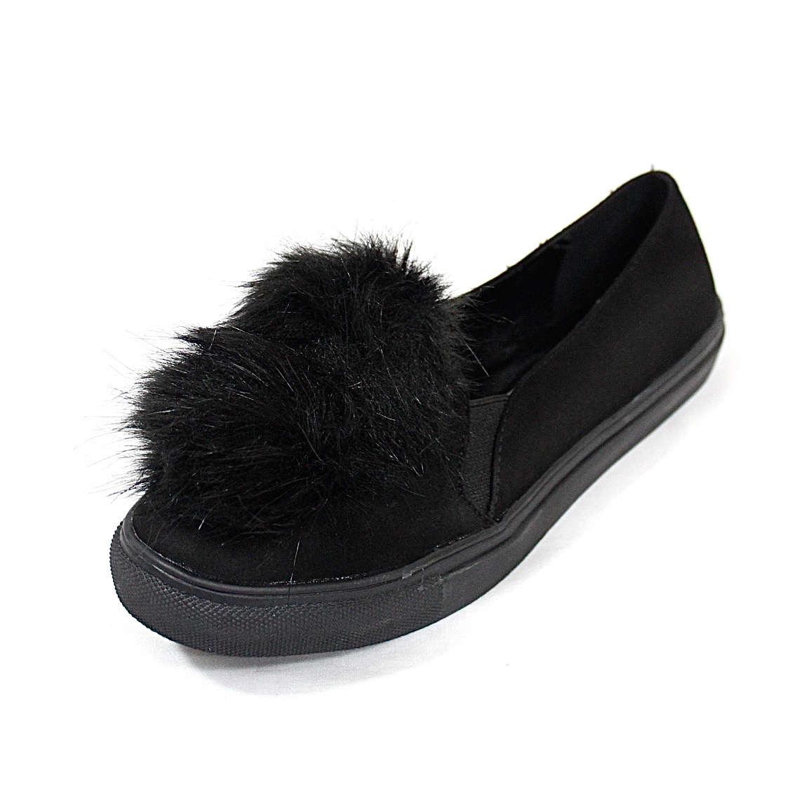 Liliana Bailey-1 Black Flat Slip On Faux Fur Ball Pom Pom Round Toe Sneakers-4356