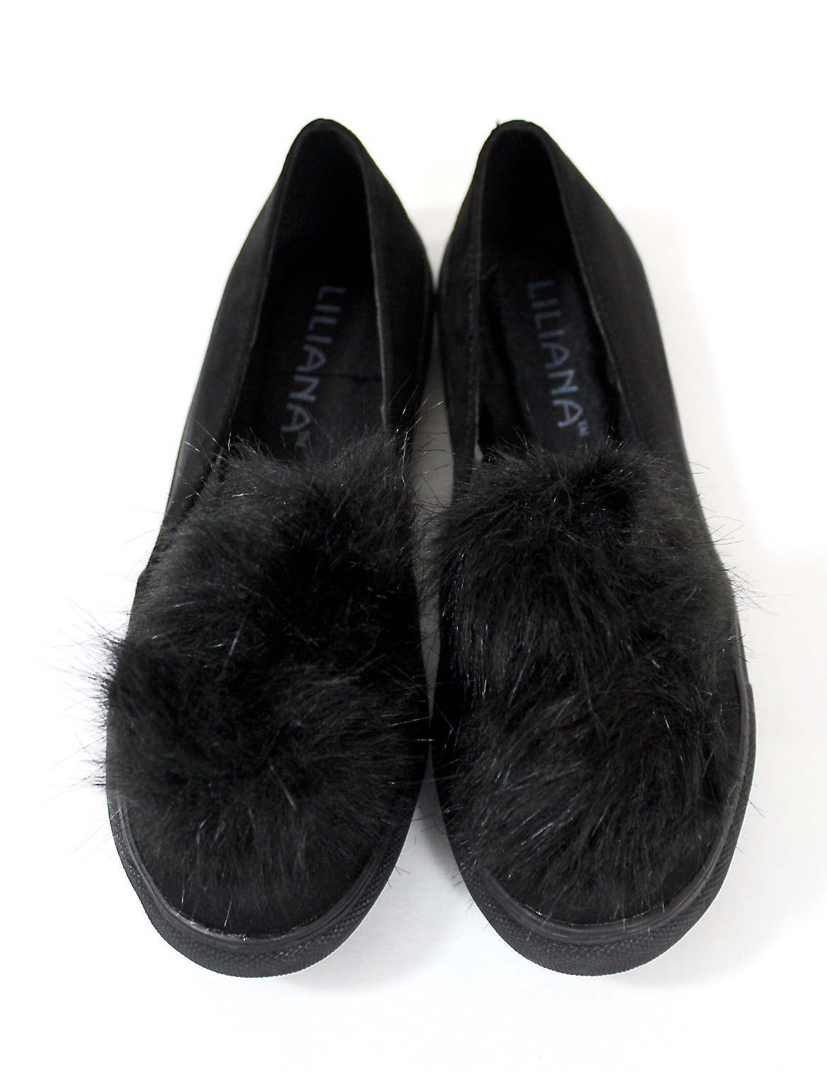 Liliana Bailey-1 Black Flat Slip On Faux Fur Ball Pom Pom Round Toe Sneakers-0
