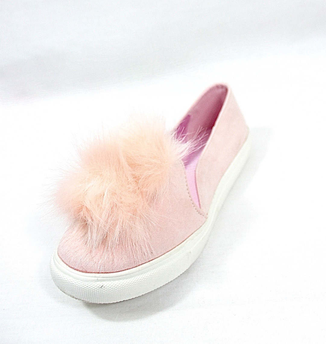 Liliana Bailey-1 Blush Flat Slip On Faux Fur Ball Pom Pom Round Toe Sneakers-4373