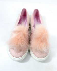 Liliana Bailey-1 Blush Flat Slip On Faux Fur Ball Pom Pom Round Toe Sneakers-0