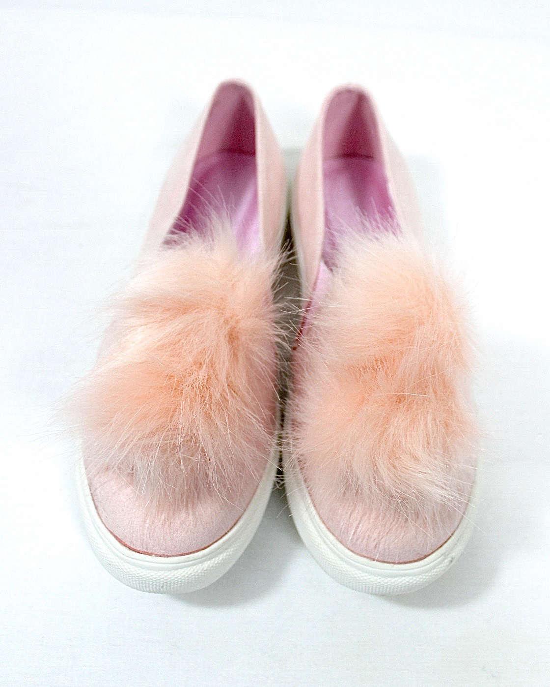 Liliana Bailey-1 Blush Flat Slip On Faux Fur Ball Pom Pom Round Toe Sneakers-0