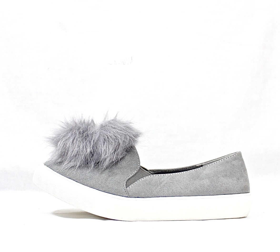 Liliana Bailey-1 Grey Flat Slip On Faux Fur Ball Pom Pom Round Toe Sneakers-4361