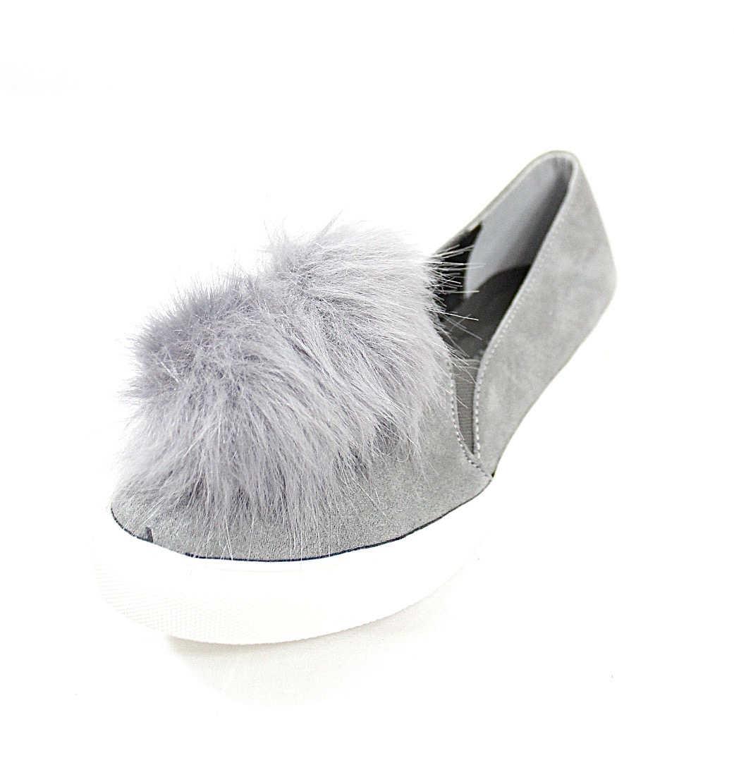 Liliana Bailey-1 Grey Flat Slip On Faux Fur Ball Pom Pom Round Toe Sneakers-4360