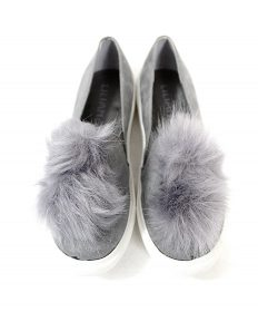 Liliana Bailey-1 Grey Flat Slip On Faux Fur Ball Pom Pom Round Toe Sneakers-0