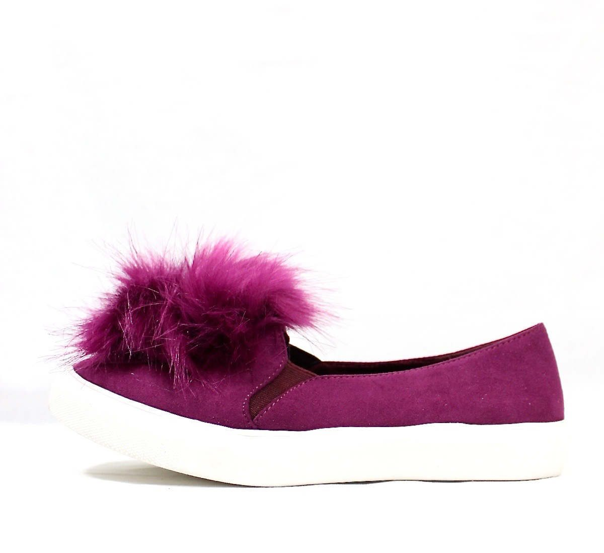Liliana Bailey-1 Purple Flat Slip On Faux Fur Ball Pom Pom Round Toe Sneakers-4366