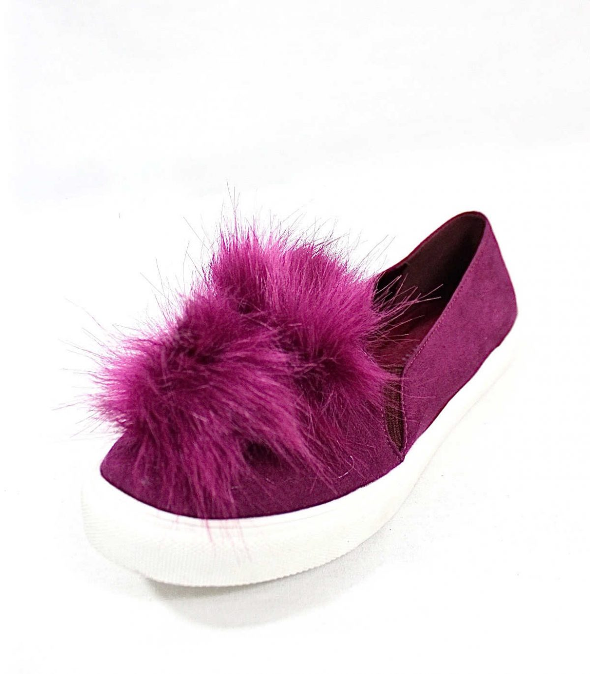 Liliana Bailey-1 Purple Flat Slip On Faux Fur Ball Pom Pom Round Toe Sneakers-4368