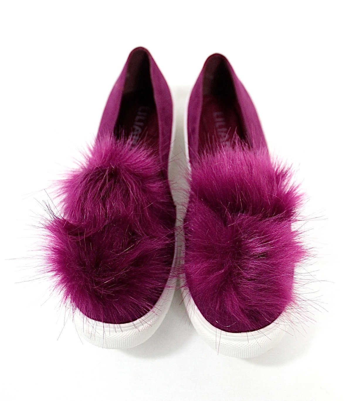 Liliana Bailey-1 Purple Flat Slip On Faux Fur Ball Pom Pom Round Toe Sneakers-0