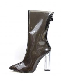 Pointy Toe Block Chunky Clear Perspex Lucite Heel Black Bootie -0