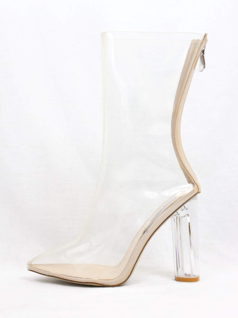 82827b74ae4 Pointy Toe Block Chunky Clear Perspex Lucite Heel Booties