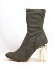 Fay-1 Olive Suede Round Toe Chunky Heel Bootie-0