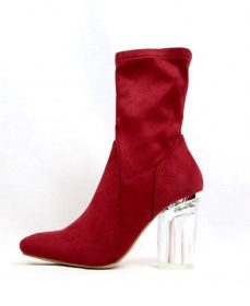 Fay-1 Red Suede Round Toe Chunky Heel Bootie-0