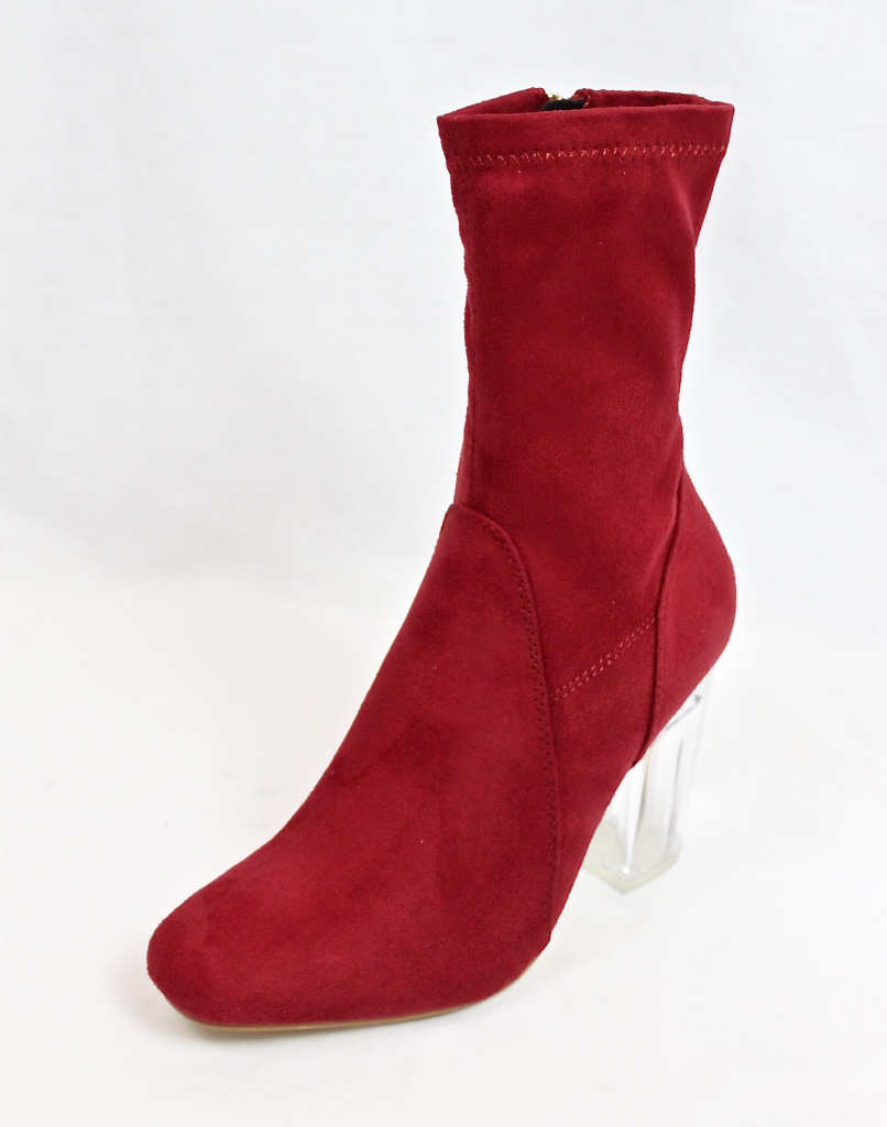 Fay-1 Red Suede Round Toe Chunky Heel Bootie-4604
