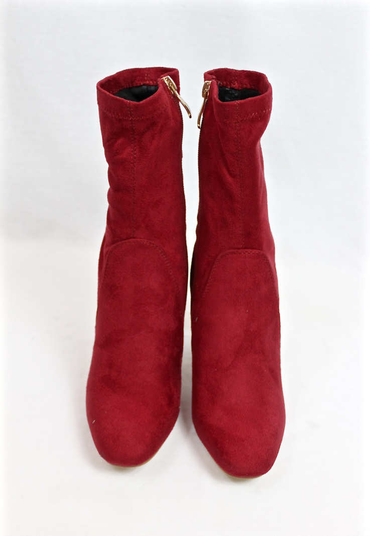 Fay-1 Red Suede Round Toe Chunky Heel Bootie-4603
