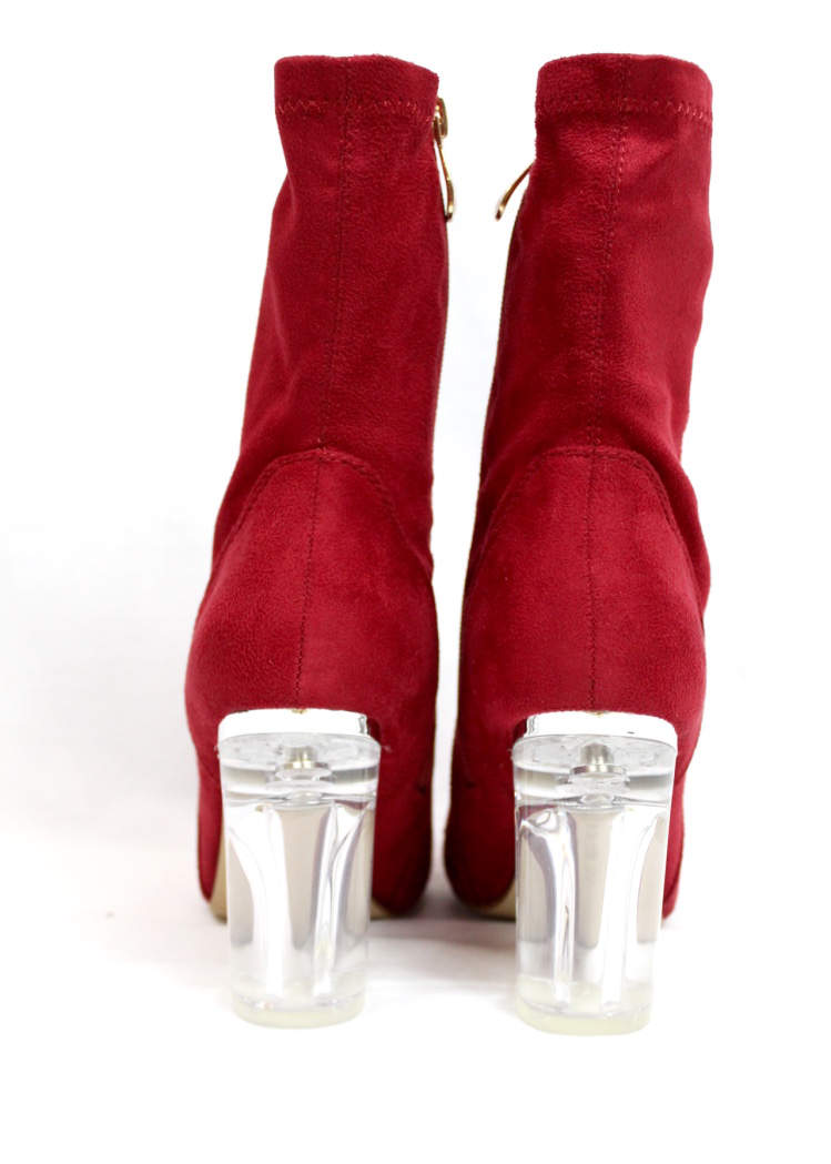 Fay-1 Red Suede Round Toe Chunky Heel Bootie-4606