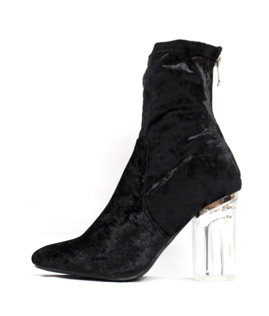 Fay-11 Black Velvet Round Toe Chunky Heel Bootie-0