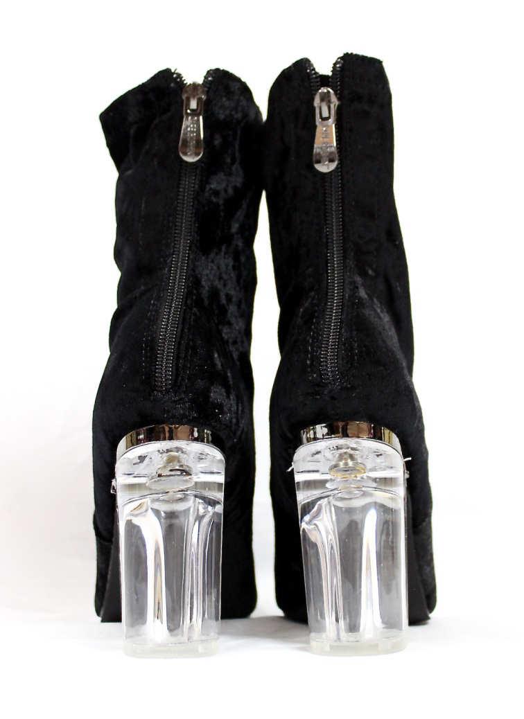 Fay-11 Black Velvet Round Toe Chunky Heel Bootie-4431