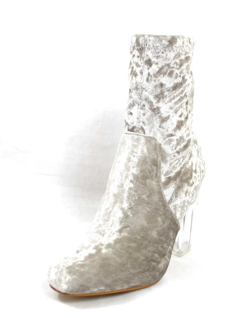 Fay-11 Grey Velvet Round Toe Chunky Heel Bootie-4424