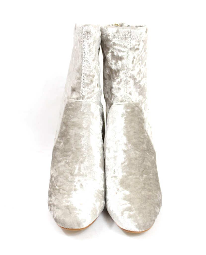 Fay-11 Grey Velvet Round Toe Chunky Heel Bootie-4423