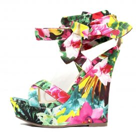 Liliana Multi Color Floral Open Toe Strappy Platform Criss Cross Wedge -0