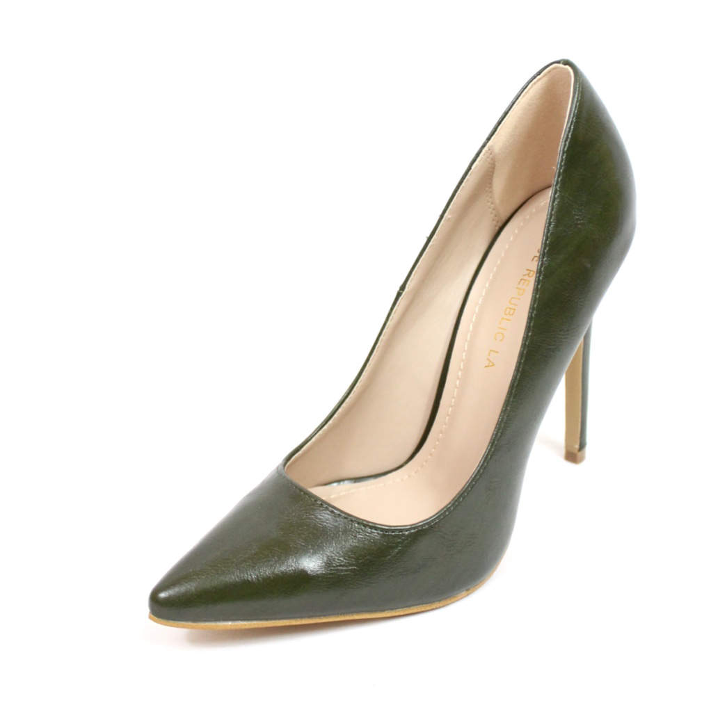 Shoe Republic Giuliana Olive Pointy Toe Pumps-4509