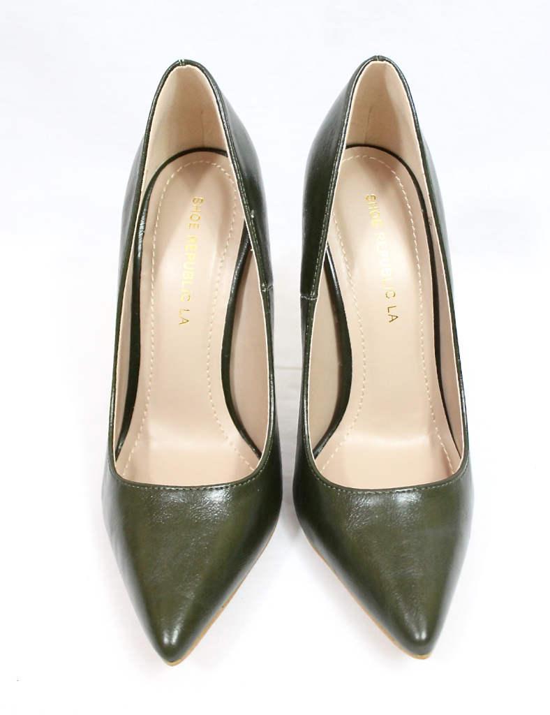 Shoe Republic Giuliana Olive Pointy Toe Pumps-4510